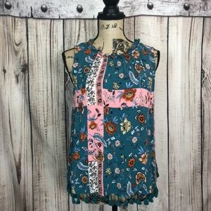 Style & Co. Teal Floral Tank Top Large